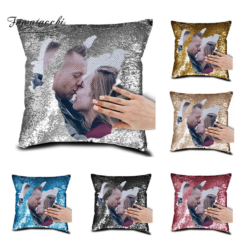 Private Customization Home Decorative Pillows Customize Sequin Cushion Cover Personalized Pillowcase Print Photo Image Picture