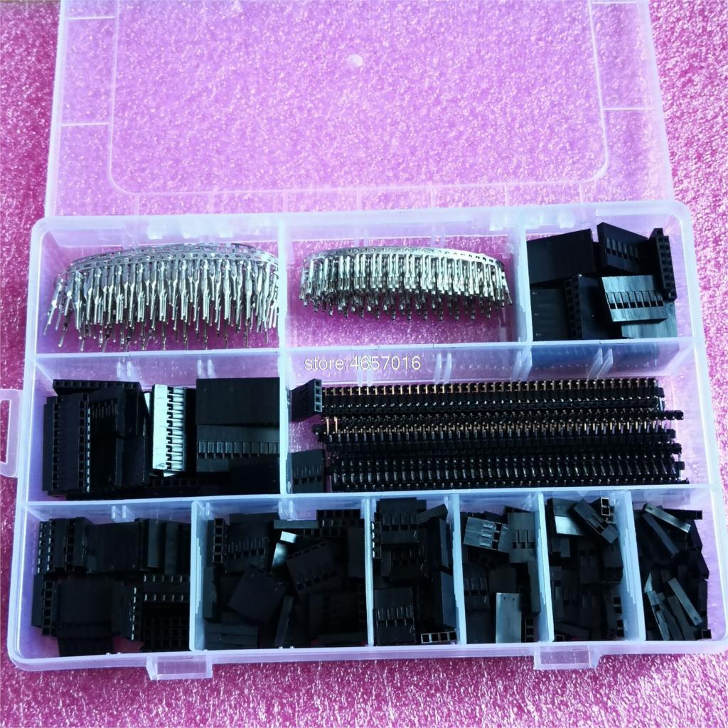 1450 pçs/set 2.54mm dupont conector kit pcb cabeçalhos masculino fêmea pinos eletrônica