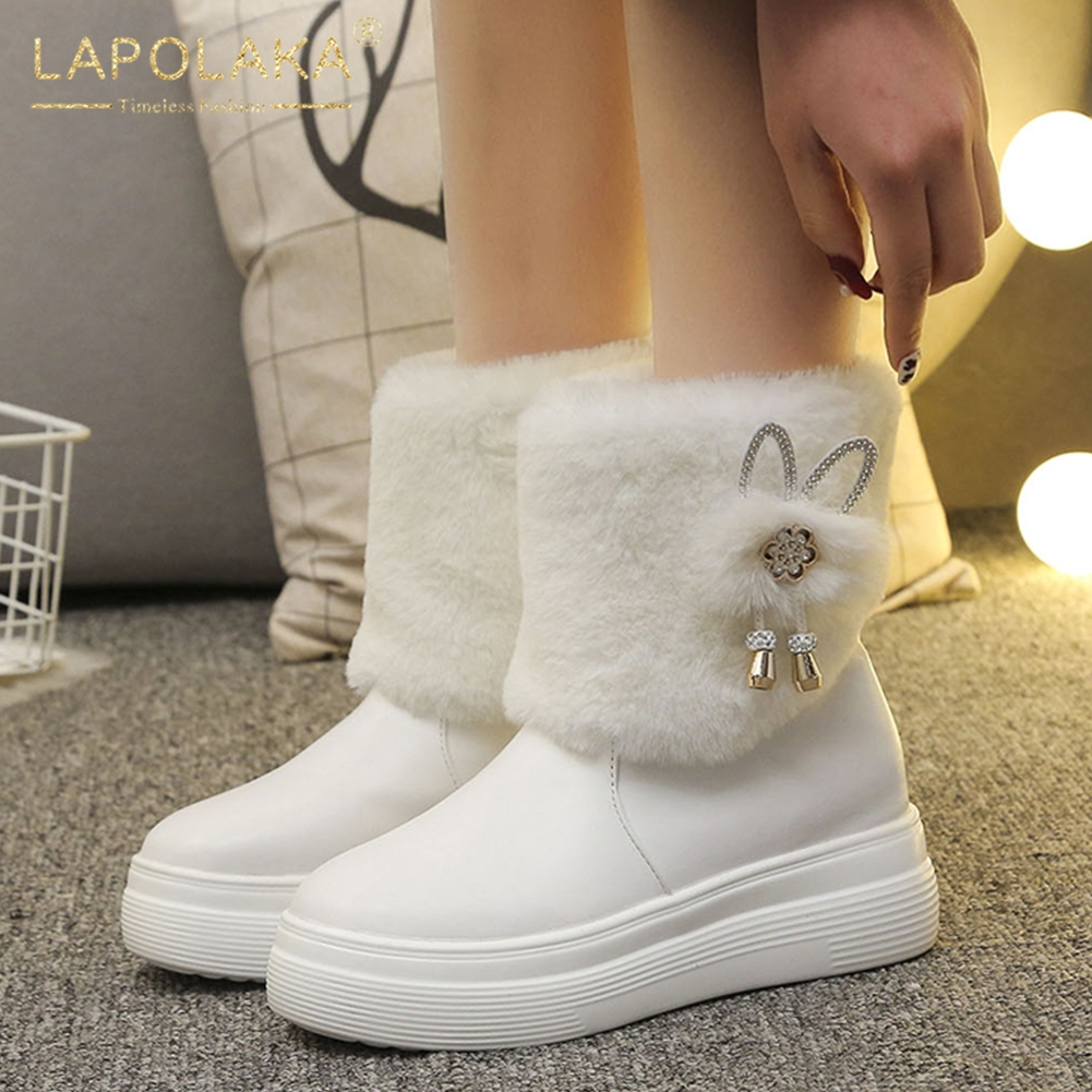 LAPOLAKA waterproof Fashion 2020 Hot Sale Dropship snow Boots Woman Shoes Platform Add Fur Warm Winter Shoes Women Boots Lady image