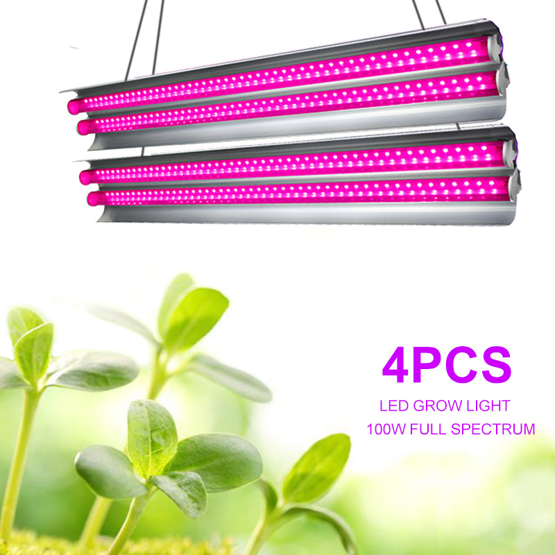 4pcs Indoor LED Grow Light Strips 100W Phyto Lamp For Plants Full Spectrum Fitolampy Grow Tent T5 Lamps Growing Lamp For Flowers(China)