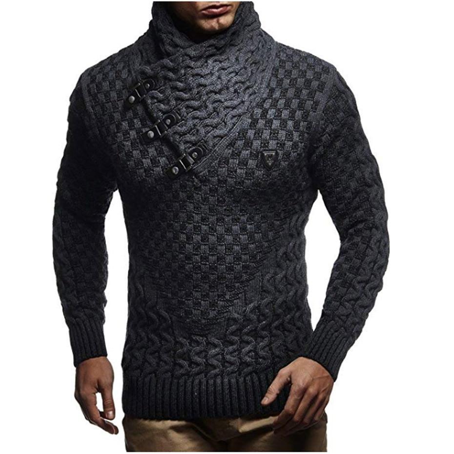 ZOGAA Men Sweaters 2019 Hot Warm Hedging Turtleneck Pullover Sweater Male Casual Knitwear Slim Winter Sweater Men Brand Clothing