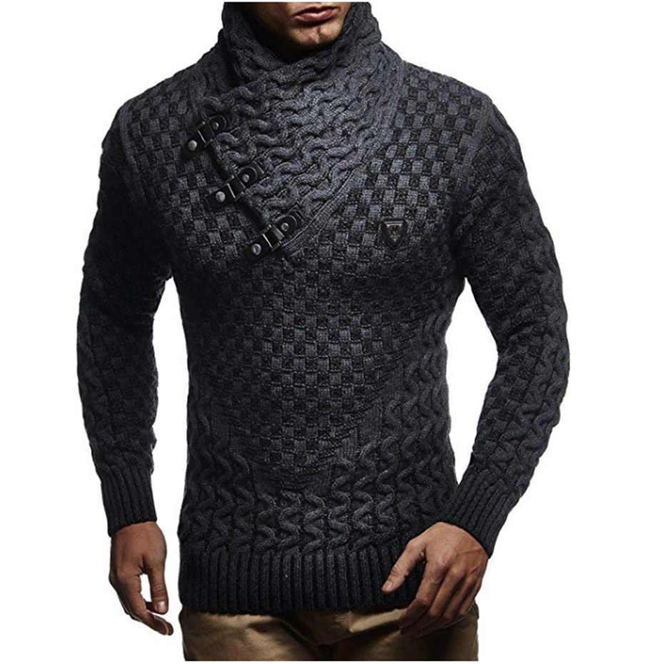Zogaa 남자 스웨터 2019 뜨거운 따뜻한 헤지 터틀넥 풀오버 스웨터 남성 캐주얼 니트 슬림 겨울 스웨터 남자 브랜드 의류
