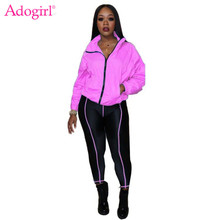 Adogirl Fluorescent Green Women Tracksuit Athleisure Two Piece Set Stand Collar Long Sleeve Jacket Coat Skinny Pants Sportswear