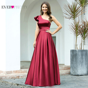 Burgundy Prom Dress Ever Pretty EP00649BD Elegant Princess A Line One Shoulder Ruffles Long Satin Formal Party Gowns Robe Femme - discount item  25% OFF Special Occasion Dresses