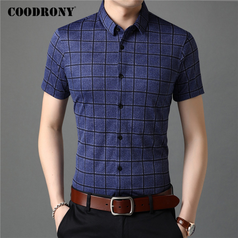 COODRONY Men Shirt Spring Summer Short Sleeve Business Casual Shirts Mens Clothes Slim Fit Fashion Plaid Camisa Masculina C6013S