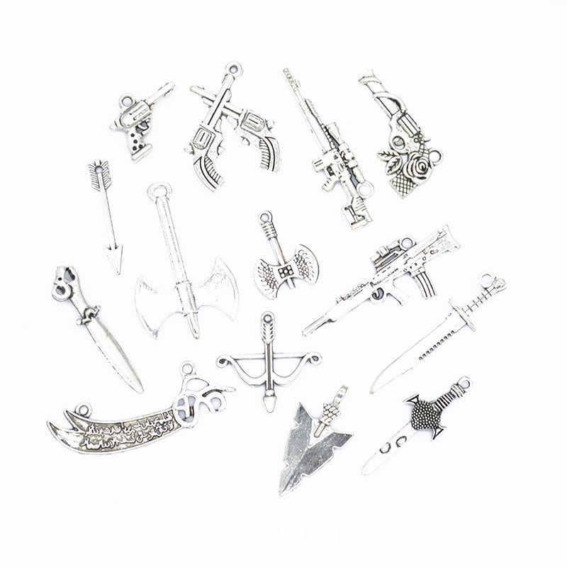 Diy arma liga jóias fazendo suprimentos de prata tibetana do vintage acessórios misturados lotes por atacado em massa pingente criativo u023