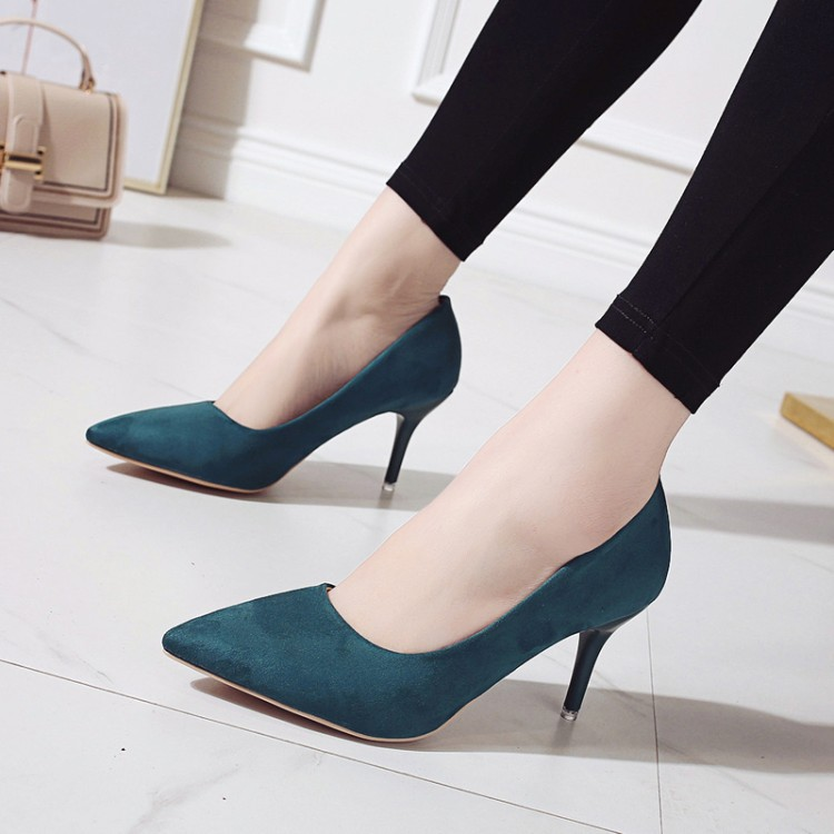 PUMPS 2019 Spring New Pointed High-heeled Suede Shoes Europe America Style Large Size 44 Was Thin Wild Women's Shoes
