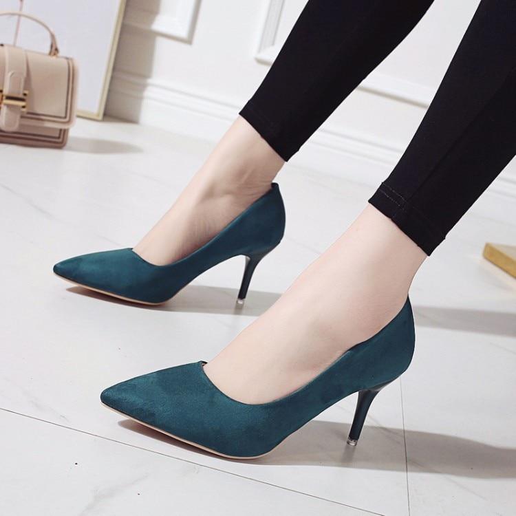 Туфли-лодочки, новинка весны 2019, остроносые замшевые туфли на высоком каблуке, Европейский и американский стиль, большие размеры 44, тонкие ж...