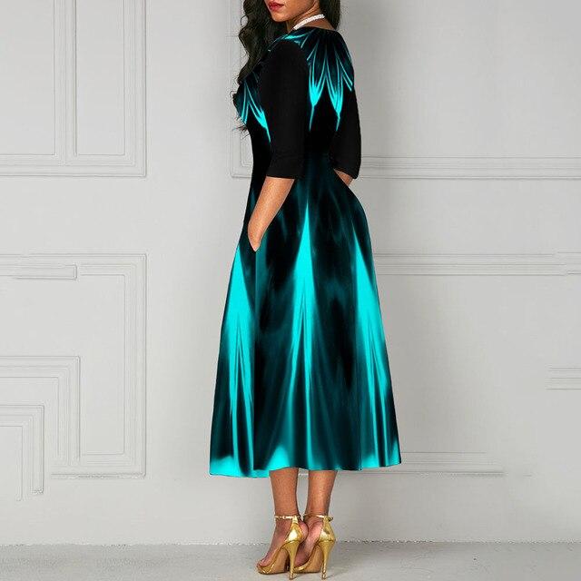 Half Sleeve V Neck Vintage A Line Printing Women Maxi Dress Standard-Waist Dress 2019 Autumn Dress Evening Party Beach Dress 5