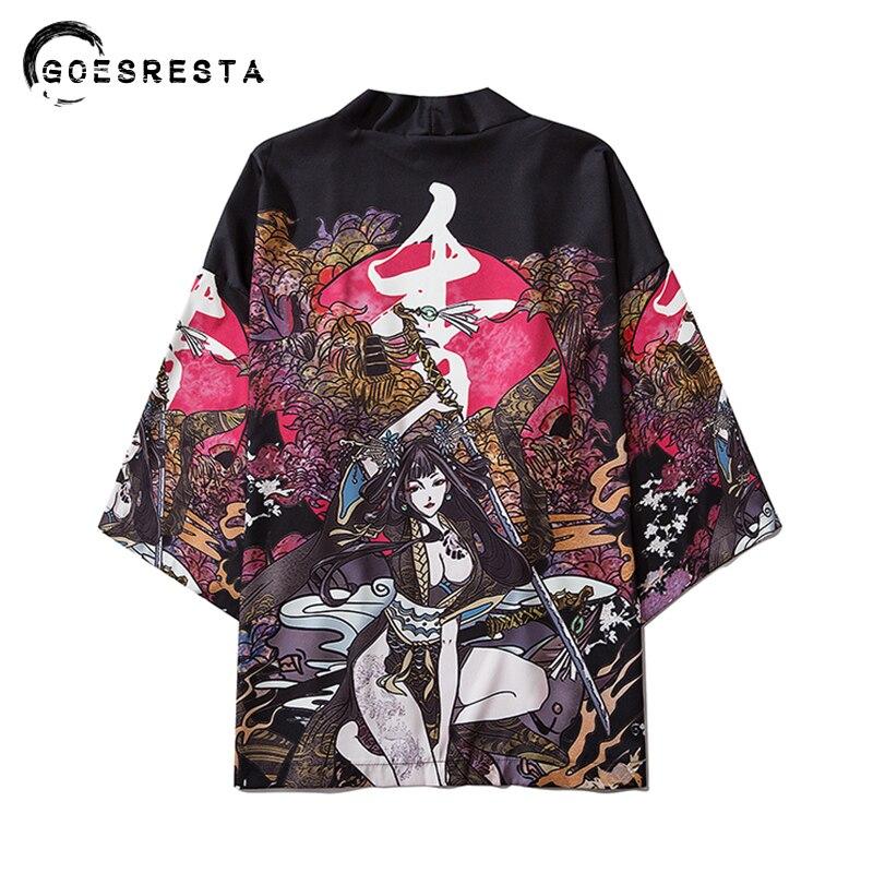 2020 Japanese Samuri Printed Kimono Women Harajuku Hip Hop Fashion Casual Streetwear Jacket Summer Loose Cardigan Kimono Men