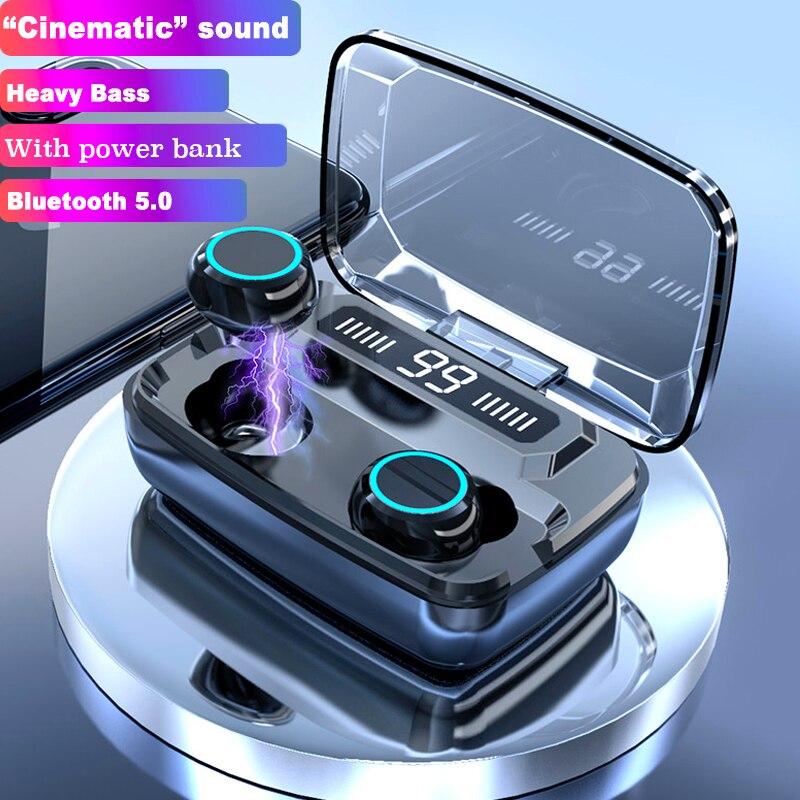 אלחוטי אוזניות Bluetooth V5.0 TWS אלחוטי Bluetooth אוזניות LED תצוגה עם 3300mAh כוח בנק אוזניות עם מיקרופון