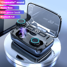 Wireless Earphones Bluetooth V5.0 TWS Wireless Bluetooth Headphones LED Display With 3300mAh Power Bank Headsets With Microphone