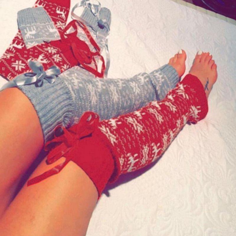 Women Girl Christmas Crochet Knit Long Leg Warmers Reindeer Snowflake Jacquard Over Knee Thigh High Cover Boot Socks With Ribbon
