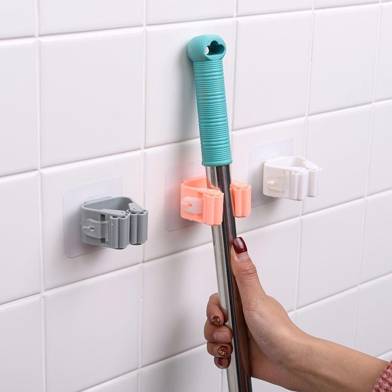 1/5pc Mop Broom Holder Wall Mounted Mop Holder Household Adhesive Storage Broom Hanger Mop Hook Racks Kitchen Bathroom Organizer