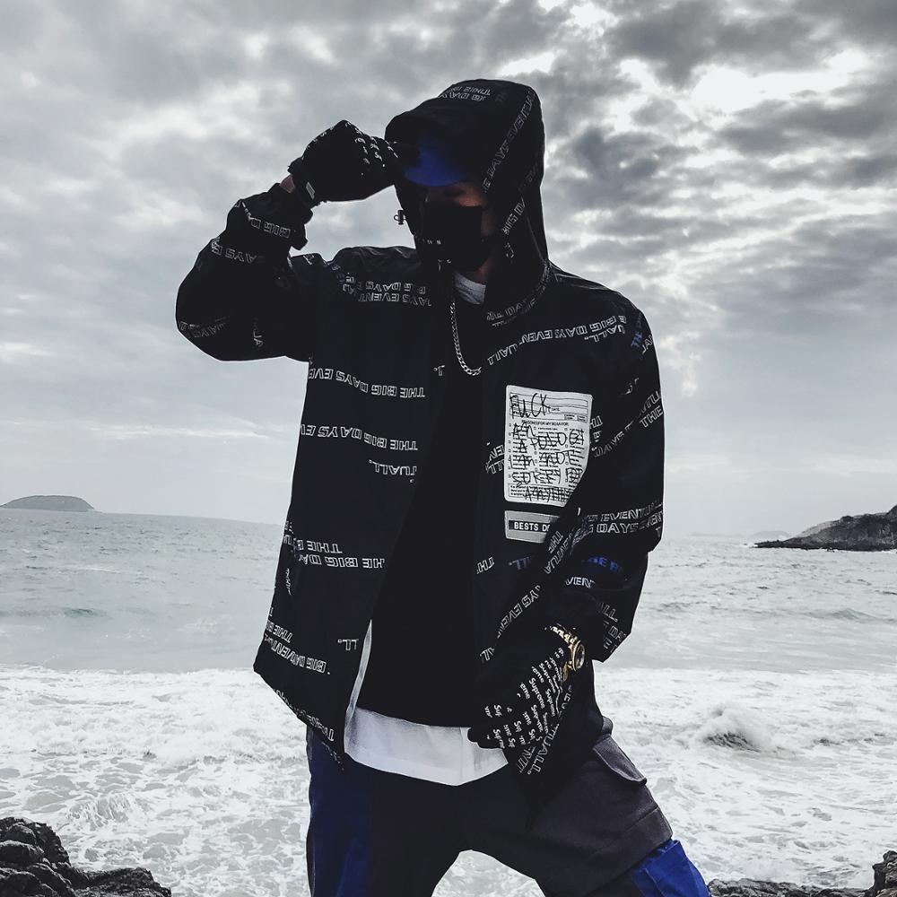 Men Jacket Hip Hop Streetwear Dance Clothes Harajuku Japanese Style Printed Hit Color Hooded Jackets Bangtan Boys Outwear
