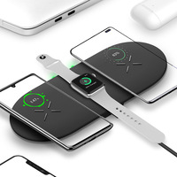 Dual 10W Wireless Charging Pad 3 in 1 Fast Charger Station Dock Stand for Apple iWatch Series 5/4/3/2/1  Airpods Pro 2 iPhone 11|Phone Adapters & Converters| |  -