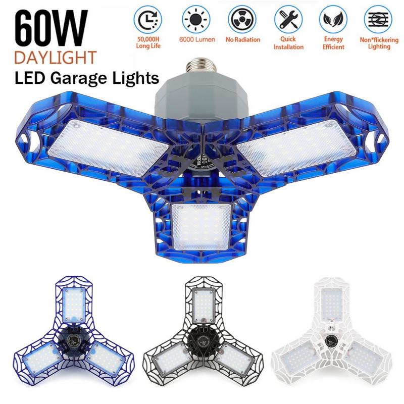 360 Degrees Deformable Ceiling Light LED Garage Light For Home Warehouse Workshop 40W 60W Folding Three-Leaf Deformation Lamp