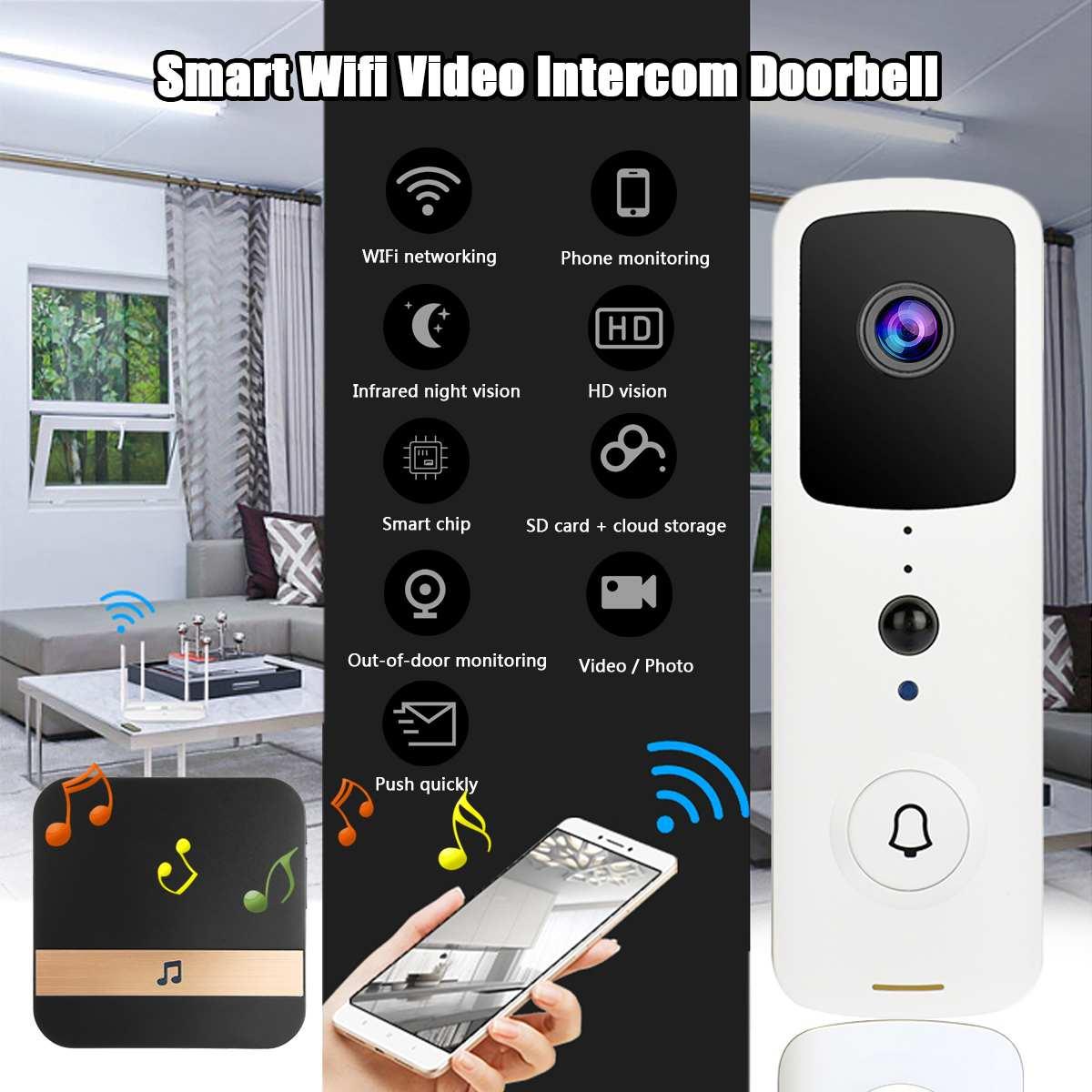 WIFI Doorbell Video Door Intercom 1080P HD Wireless Smart Home IP Door Bell Camera Security Alarm IR Night Vision