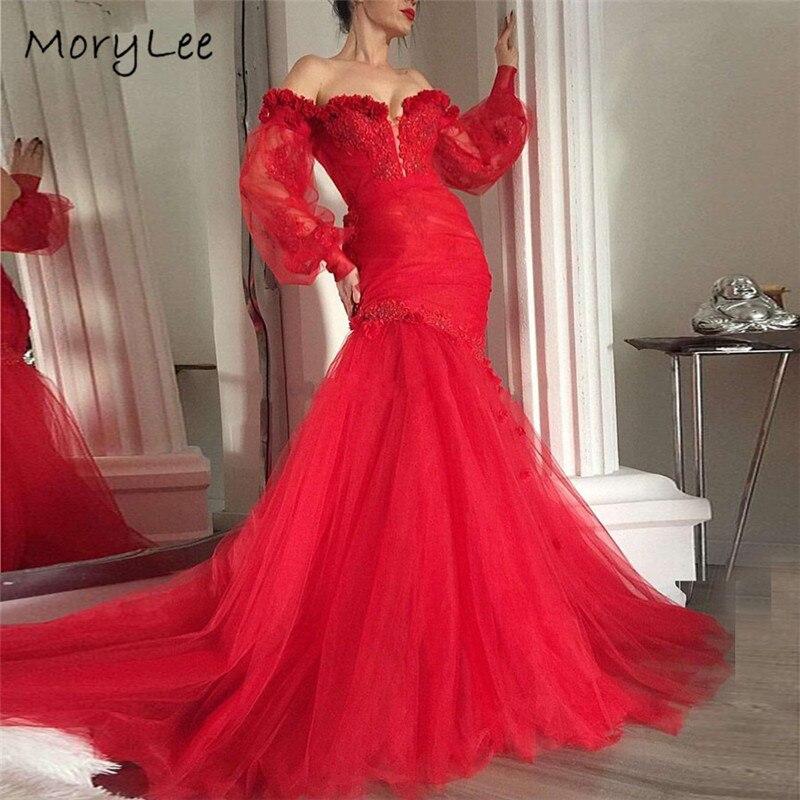 Robes de soirée à fleurs faites à la main manches longues col en v sirène longueur de plancher robes de soirée en Tulle vestidos de fiesta de noche