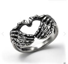 С серебряным покрытием ручной работы с принтом в виде сердец и кольца для Для мужчин в стиле готик-панк Творческий скелеты пара кольцо Для ж...