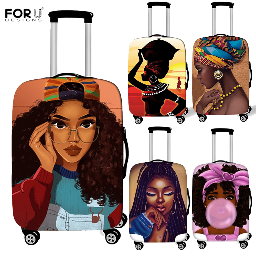FORUDESIGNS African Girls Printed Thick Elastic Luggage Protective Cover Zipper For 18 32 inch Trunk Suitcase