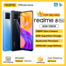 Versão global realme 8 pro 8gb 128gb smartphone 108mp ultra quad câmera 6.4 super super amoled fullscreen 50w superdart carga