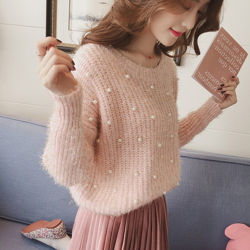 Beaded Sweater Mohair Kawaii  Woman Winter Plush Cashmere Cute  Autumn Plus Size  Velvet Loose Korean Jumper Bright Silk