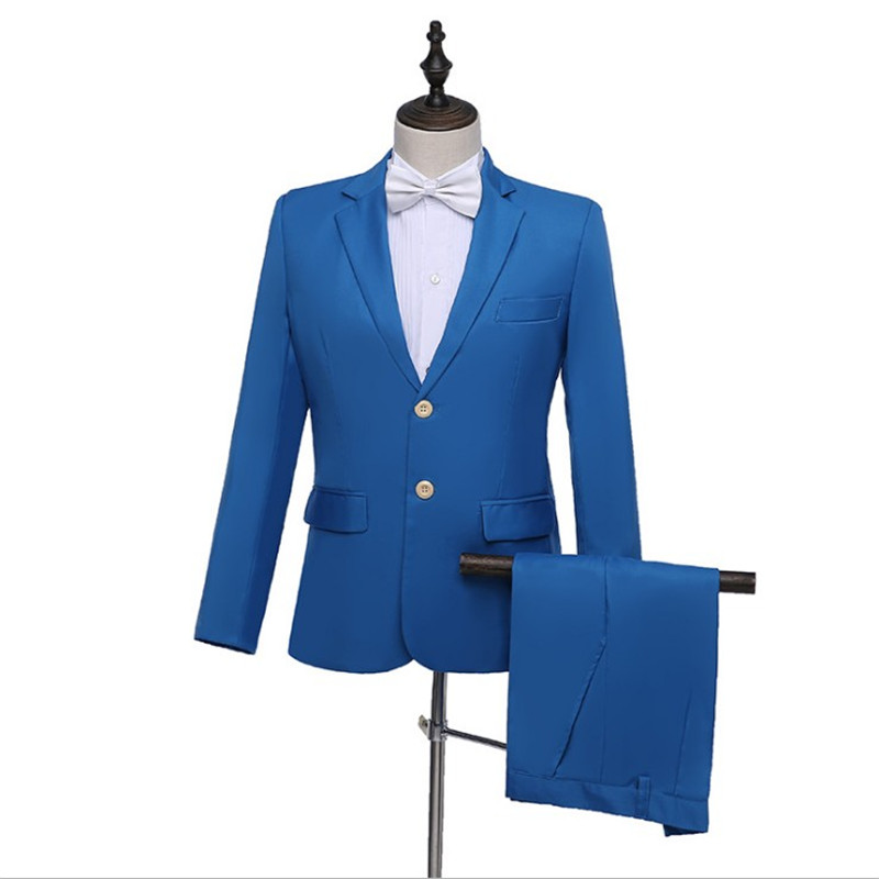 New Men's Spring Autumn Fashion Sectional Pure Color Groom Wedding Suit Set (Jacket + Pant) Casual Slim Banquet 2 Pieces