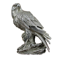 Chinese Handmade Cupronickel Statue Bird Owl Sculpture Decoration Silver Eagle Statue Decoration