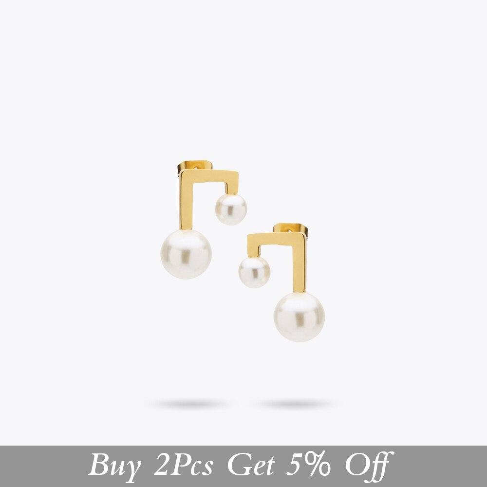 Купить женские серьги гвоздики с жемчугом из нержавеющей стали