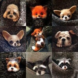 2019 New Felt Poke Le DIY Handmade Material Bag Cat Fox Doberman Dog Raccoon Animal Brooch Material Bag(China)