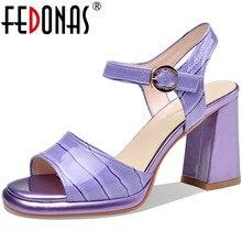 Women's Sandals FEDONAS High-Heels Summer Fashion Prom-Shoes Platform Genuien Woman Pu