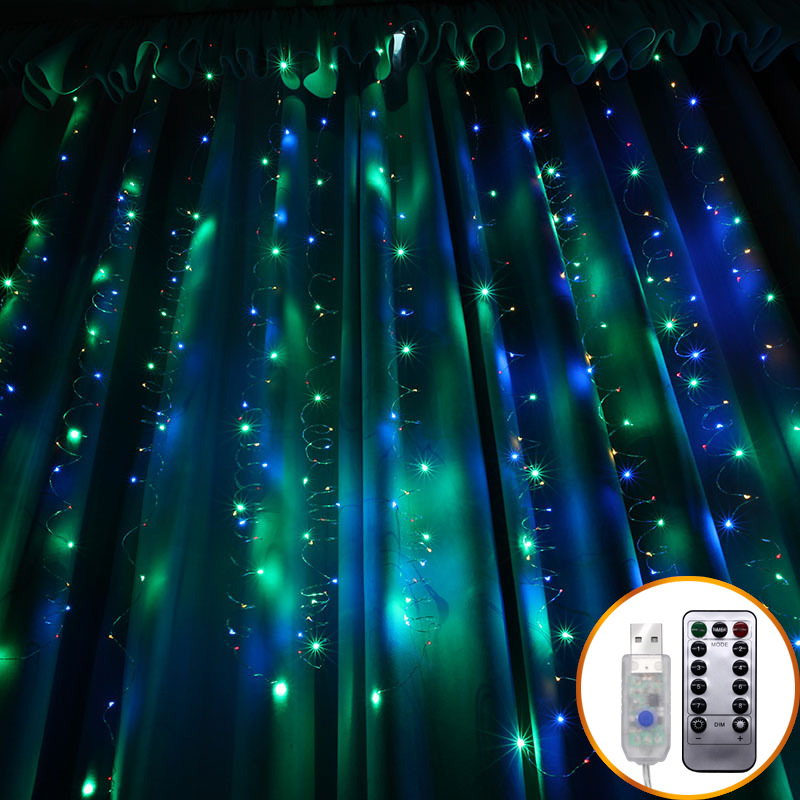 3*3M 8 Modes Twinkle Lights USB Powered Curtain Lights LED Fairy String Lights For Wedding Parties Bedroom Window Wall Decor