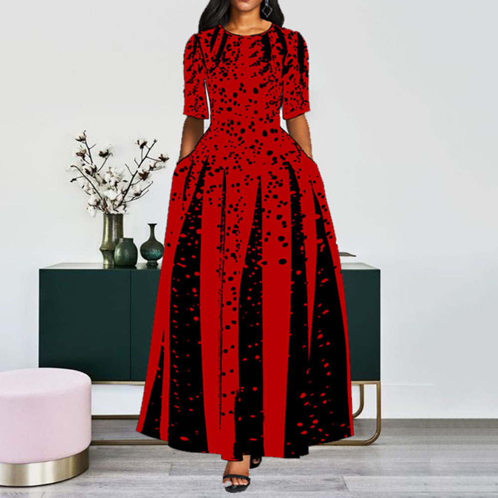 Contrast Color Women Prom Party Dress Red Black Dot Elegant Office Long Dresses Ladies A Line Draped Vintage Maxi Vestidos