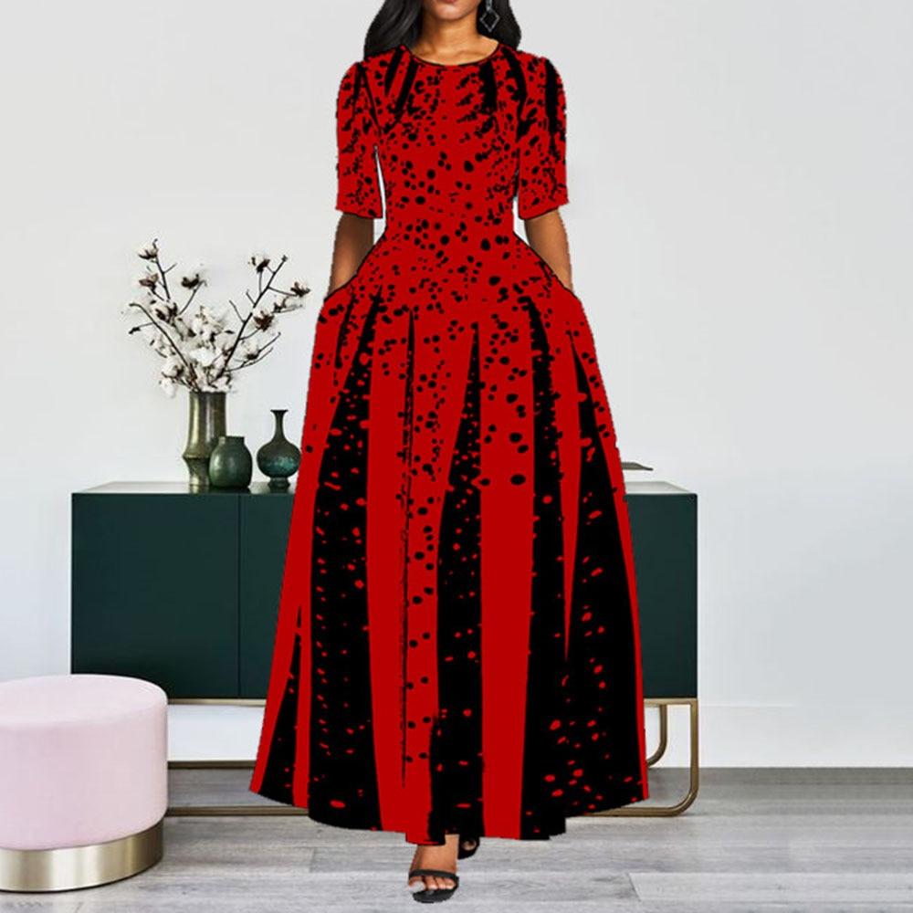 Contrast Color Women Prom Party Dress Red Black Dot Elegant Office Long Dresses Ladies A Line Draped Vintage Maxi Vestidos