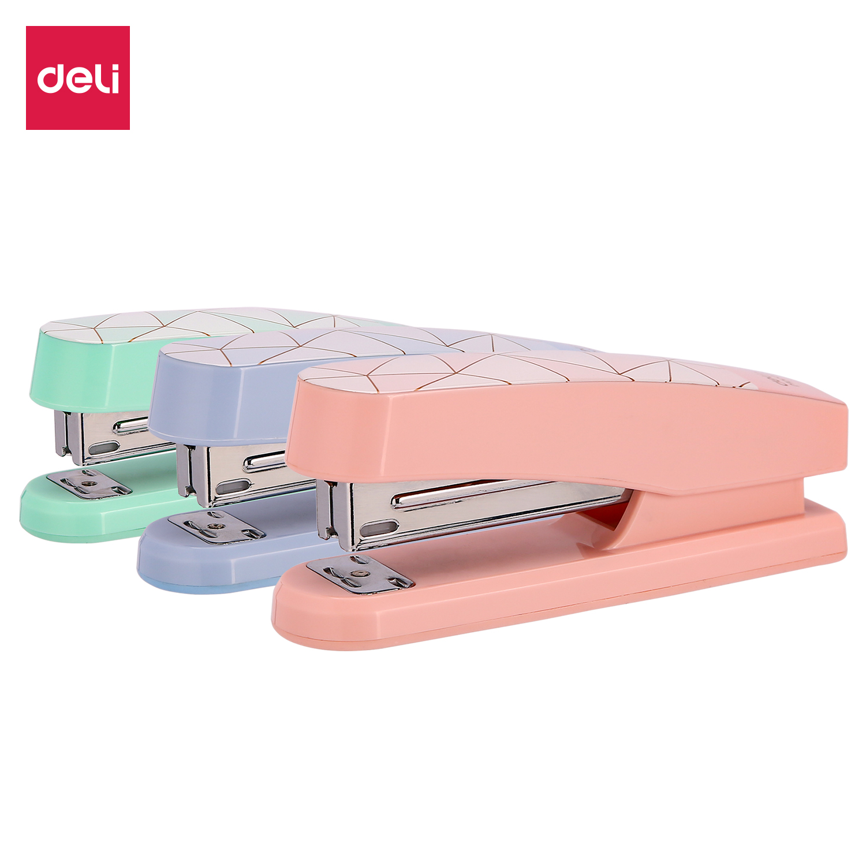 DELI E0402F Stapler NO.12 Half Strip Stapler 24/6 & 26/6 Smooth Stapling Stationery Office Supply Staples