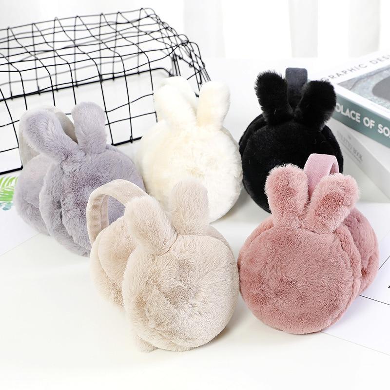 Rabbit Ears Plush Warm Earmuffs Winter Cartoon Cute Ear Warmer Solid Color Foldable Comfortable Earlap Earmuffs High Quality