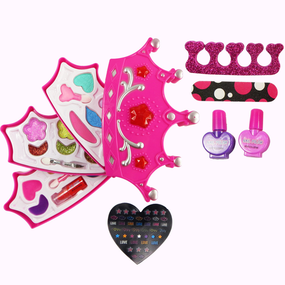 Kids Makeup Set Toys Crown Box Dressing Cosmetics Girls Toy Plastic Safety Beauty Pretend Play Children Girl Makeup Games Gifts