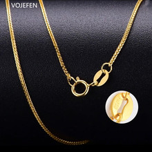 VOJEFEN AU750 18k Real Gold Link Chain Necklace for Women , Wheat Chain/Rope Chain/Box Chain Choker Fine Jewelry Gift