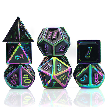 Dnd dice set metal dice polyhedral dice set d&d dice rpg dice dungeon and dragon rainbow dice with bag d4 d6 d8 d10 d12 d20 10pcs d10 sided polyhedral dice for tabletop rpg world of darkness vampire set of 10 d10