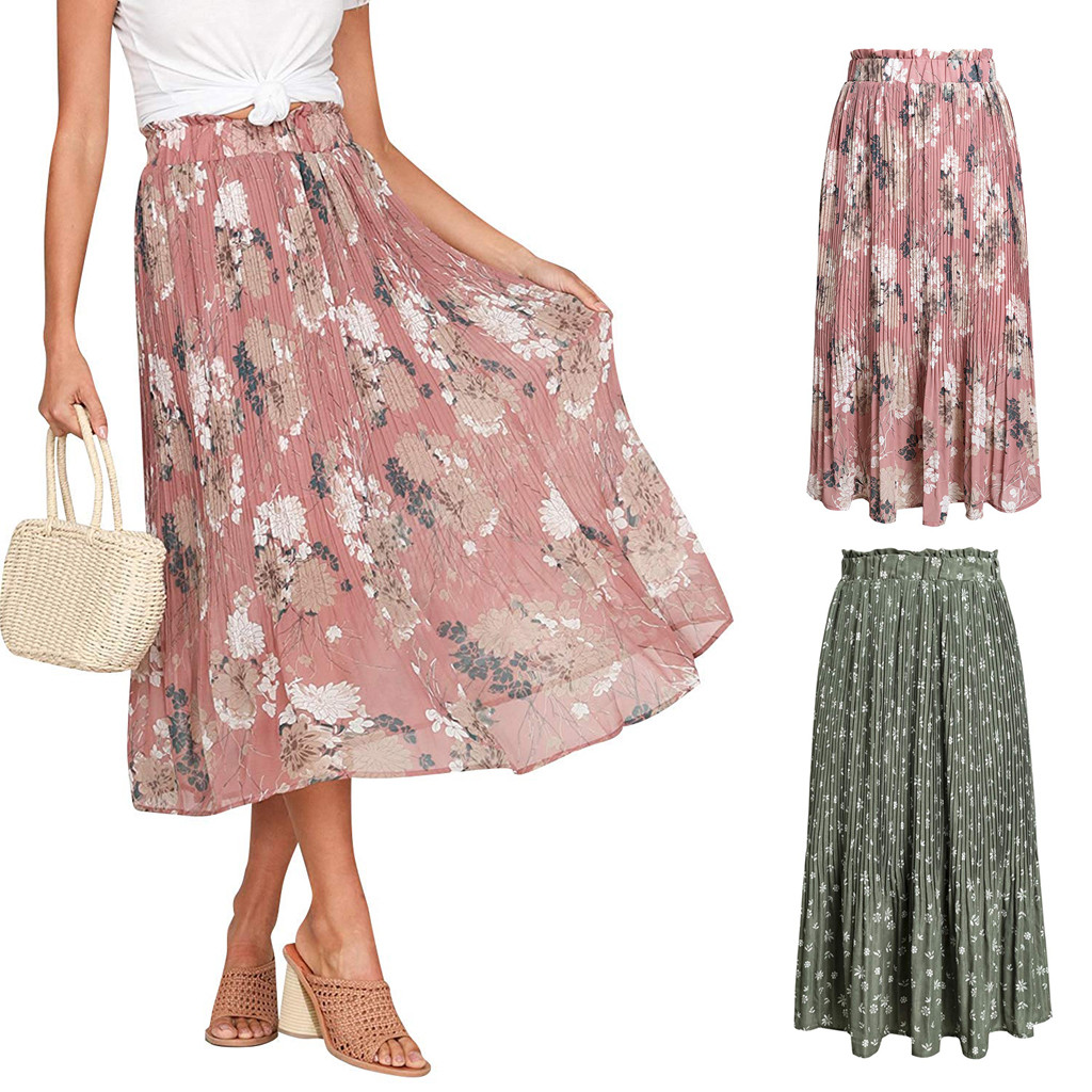 Skirts Womens Mid Floral Flowers Print Skirt Plus Size Beach Ladies Pleated Skirt Ruffles Elastic Waist Summer Autumn Mujer Moda