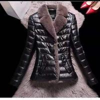Imitacja futro królika Rex PU skórzane bawełniane ubrania, puchowe damskie krótka skórzana odzież wąski futrzany płaszcz 2021 zima nowy Haining Kore