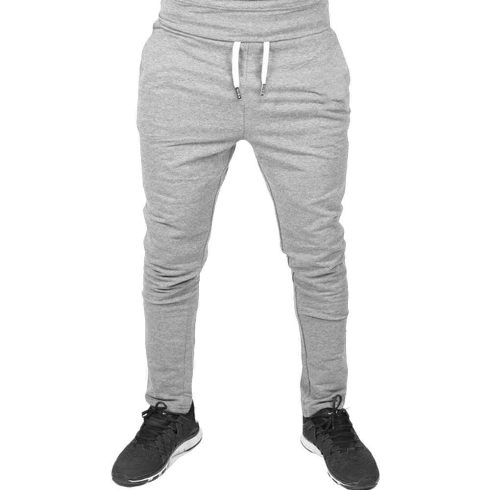 Letnie nowe męskie spodnie jednokolorowe spodnie dresowe elastyczne spodnie ściągane sznurkiem sportowe biegaczy dna Streetwear