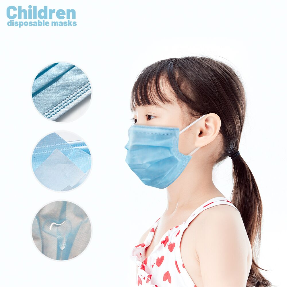 50/100PCS Children's Masks Face Mouth Anti Mask Disposable Protect 3 Layers Filter Dustproof Earloop Non Woven Mouth Masks