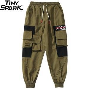 Image 4 - Pantalones Cargo a la cadera 2019, pantalones multibolsillos de Color negro para hombre, pantalones para correr, ropa de calle, pantalones tácticos militares de algodón verde