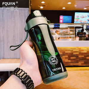 Tritan plastic water bottle BPA free Portable Drink Bottle shaker protein Girl student Leak-proof Water Bottle Outdoor Explosi(China)