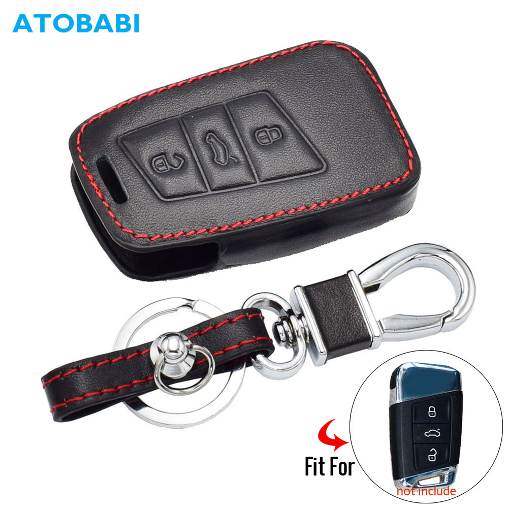 Real Leather Car Key Cove For VW Magotan Passat B8 CC Teramont Skoda A7 3 Buttons Smart Remote Controller Keychain Protector Bag