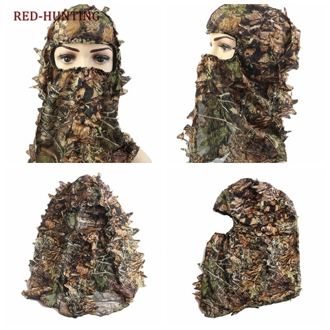 Unissex ao ar Livre Caça Biônico Headwear Tático Exército Folha Máscara Cega Boné Acampamento Camo Sniper Engrenagem Escondida