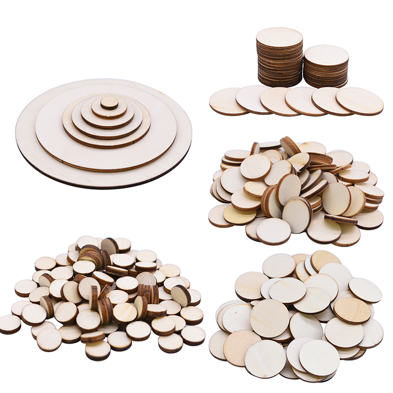 50//100 Pcs Embellishment Unfinished Wooden Round Circle Discs For Art Craft