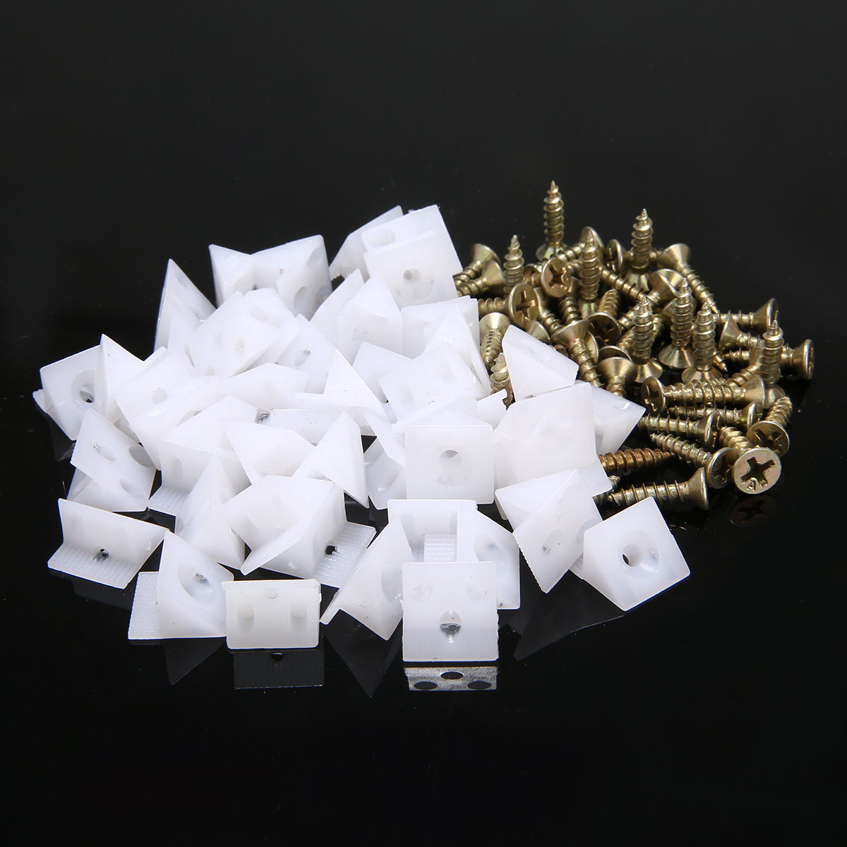 50pcs/set 5.3*3.7 Inch Drawer Bottom Sagging Repair Fixing Wedges Furniture Mending Corner Brackets Screw Kit